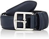 Barneys New York Men's Saffiano Leather Belt-NAVY