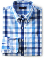 Lands' End Men's Traditional Fit Long Sleeve Pattern Sail Rigger Oxford Shirt-Classic Navy Stripe