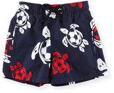 Vilebrequin Jim Soccer-Turtle Print Swim Trunks, Boys' 10-14