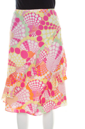 Escada Pink Circle Printed Silk Ruffled A Line Skirt L