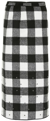 Nâ°21 Checked wool-blend midi skirt