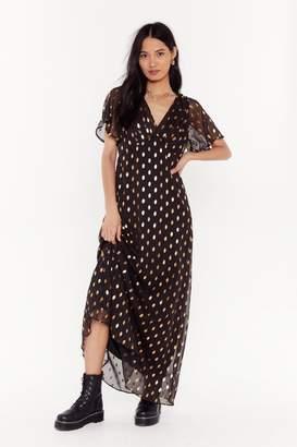 Nasty Gal Womens Gold Foil Spot Print Maxi Dress - Black - S, Black