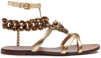 Dolce & Gabbana Chain Link-Detailed Leather Sandals