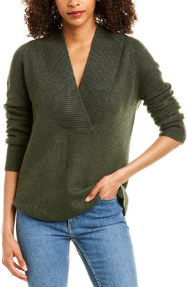 Vince Ribbed Shawl Collar Wool & Cashmere-Blend Tunic