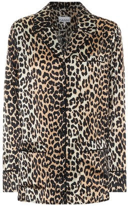 Ganni Leopard-print stretch silk-satin pajama shirt