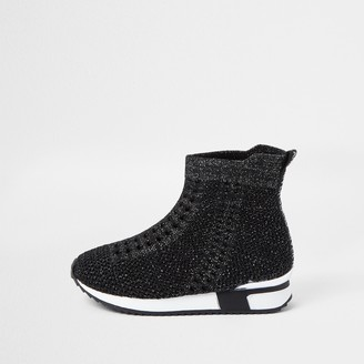River Island Mini girls Black glitter hi top trainers