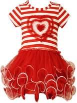 Bonnie Jean Little Girls Stripe Heart Tutu Valentine Day Dress