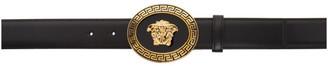 Versace Black and Gold Oval Medallion Belt