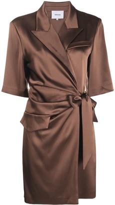 Nanushka Wrap-Style Silk Shirt-Dress