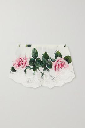 Dolce & Gabbana Lace-trimmed Floral-print Stretch Silk-blend Shorts - Cream