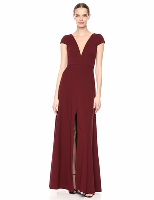Jenny Yoo Women's Cara Fit and Flare Plunging V Neck Crepe Long Gown