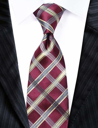"""Towergem Extra Long Men's Tie Woven Jacquard Gold/red Check Necktie XL 63"""""""