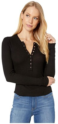 Free People One Of The Girls Henley (Black) Women's Clothing