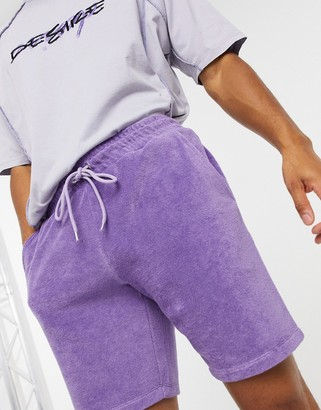 ASOS DESIGN co-ord relaxed shorts in purple towelling