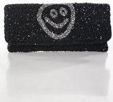 Moyna Black Silver Smiley Face All Over Beaded Clutch Handbag