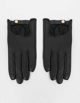 ASOS DESIGN leather plain gloves with touch screen in black