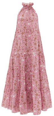 Rhode Resort Julia High-neck Tiered Floral-print Cotton Dress - Pink Print