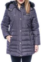 Liz Claiborne Mid Length Puffer Winter Coat with Faux Fur Lined Hood
