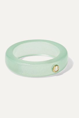 GRACE LEE Resin, Diamond And Gold Ring - Mint