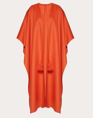 Valentino Light Drap Cape Women Orange Virgin Wool 100% 36
