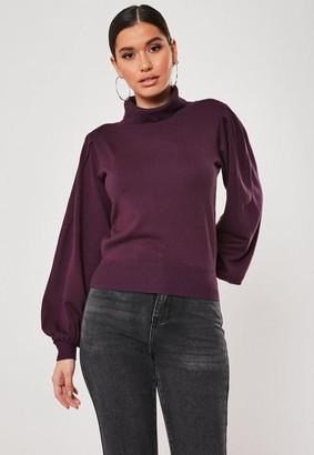 Missguided Puff Sleeve Roll Neck Jumper