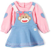 Baby Starters Pink & Denim Blue Sock Monkey Jumper & Bodysuit - Infant