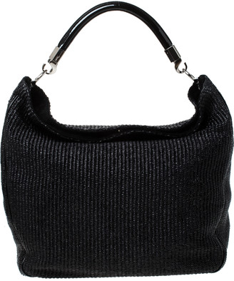 Saint Laurent Paris Black Raffia and Patent Woven Roady Hobo