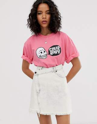 Cheap Monday organic cotton t-shirt with skull speech bubble logo-Pink