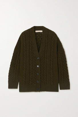 &Daughter Net Sustain Lena Cable-knit Wool Cardigan - Army green