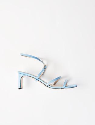 Maje Embossed leather midi-heeled mules