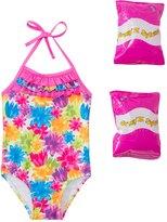 Jump N Splash Toddler Girls' Flower Shower One Piece Swimsuit w/ Free Floaties (2T3T) - 8143033