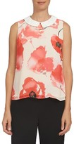 CeCe Women's Watercolor Poppy Collared Shell