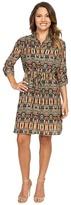 Tahari by Arthur S. Levine Petite Aztec Printed Shirtdress