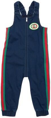 Gucci Denim Effect Cotton Sweatshirt Overalls