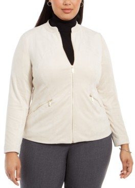 Alfani Plus Size Faux-Suede Zip Jacket, Created for Macy's