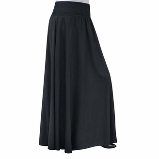 Amuse Miumiu Summer Skirt Women Beach Long Skirts Summer Solid Color Elastic Waist Solid Pleated Skirt Vintage A-line Ankle-Length Loose Long Skirts Beach Dress Casual Party (2XL