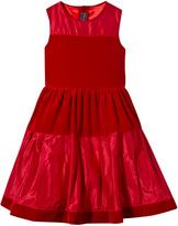 Oscar de la Renta Red Velvet and Taffeta Sleeveless Dress