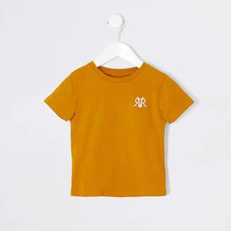 River Island Mini boys yellow RVR embroidered T-shirt
