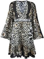 Roberto Cavalli leopard print flared dress - women - Silk/Polyimide - 42