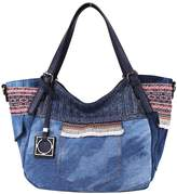 Angelkiss Multiple Pockets Handbags Washed PU Denim Fabric Purses Shoulder Handbags 9181/1