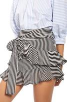 Topshop Women's Stripe Ruffle Miniskirt