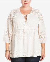 Eyeshadow Trendy Plus Size Lace Peasant Top