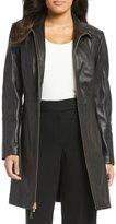 Preston & York Genuine Leather Stand Collar Walker Coat