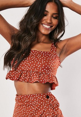 Missguided Co Ord Polka Dot Frill Crop Top