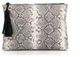 Loeffler Randall Snakeskin-Print Leather Tassel Zip Pouch