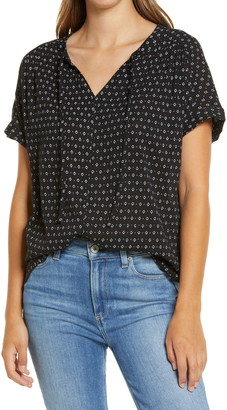 Caslon Print Split Neck Top