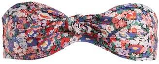 Ephemera - Liberty Tie-front Bandeau Bikini Top - Womens - Blue Multi