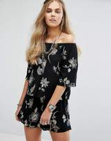 Honey Punch Off Shoulder Top In Dark Floral Co-Ord