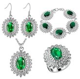 Babao Jewelry Jewelry Sets Babao Jewelry Unique Green Flower 925 Sterling Silver Plated Brass Cubic Zirconia Crystals Pendant Necklace Earrings Bracelet Set Ring Size 7