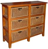 VC Living Chest of Drawers 6 Drawer Vertical Wicker Unit